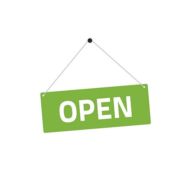 open sing vector illustration, flat style signboard hanging - 플래카드 stock illustrations
