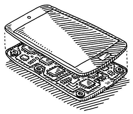 Open Smart Phone Looking Inside Drawing