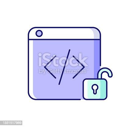 istock Open source code platforms RGB color icon 1331517989