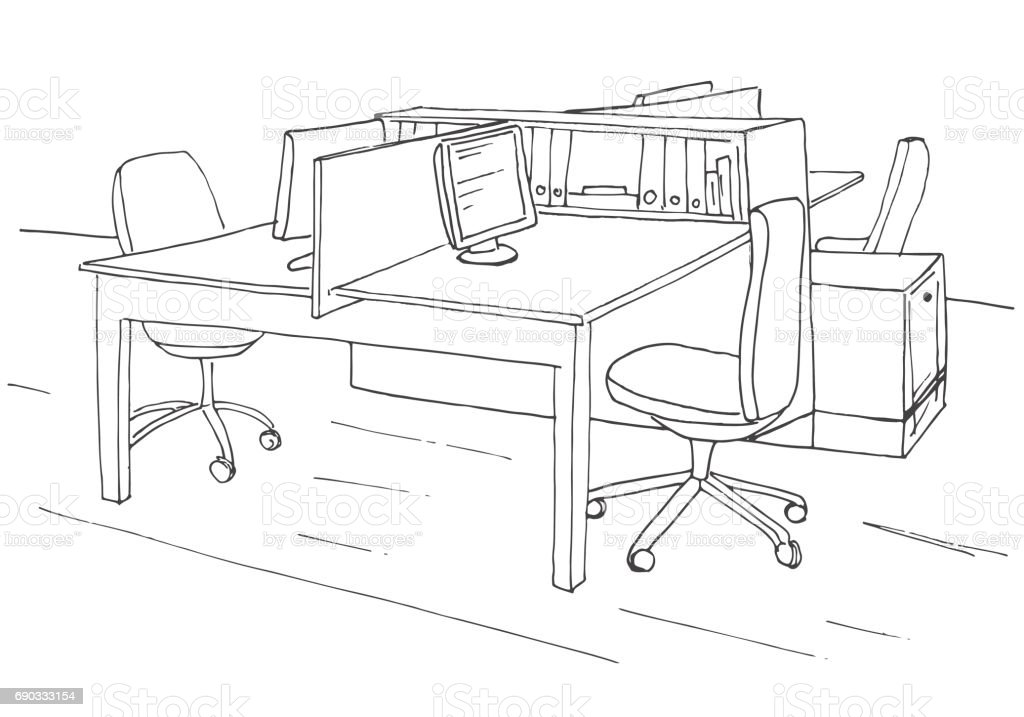 Lespace Travail Des Bureau Lieux Ouvrir Extérieur De Chaises Tables YgIbf76ymv