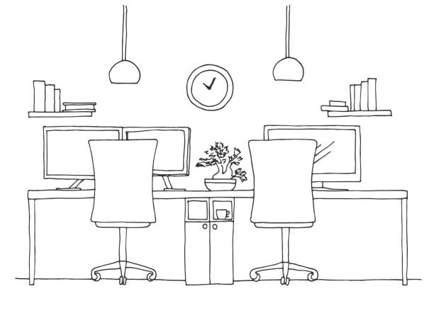 Open Space office. Workplaces outdoors. Tables, chairs. Vector illustration in a sketch style. Open Space office. Workplaces outdoors. Tables, chairs. Vector illustration in a sketch style. office chair stock illustrations