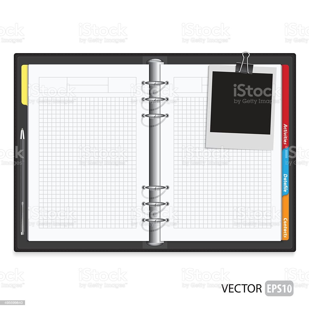 Open spiral notebook. vector art illustration