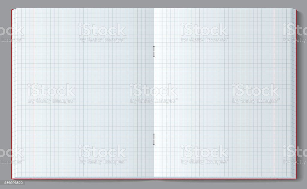 Open squared notebook with soft transparent shadow. vector art illustration