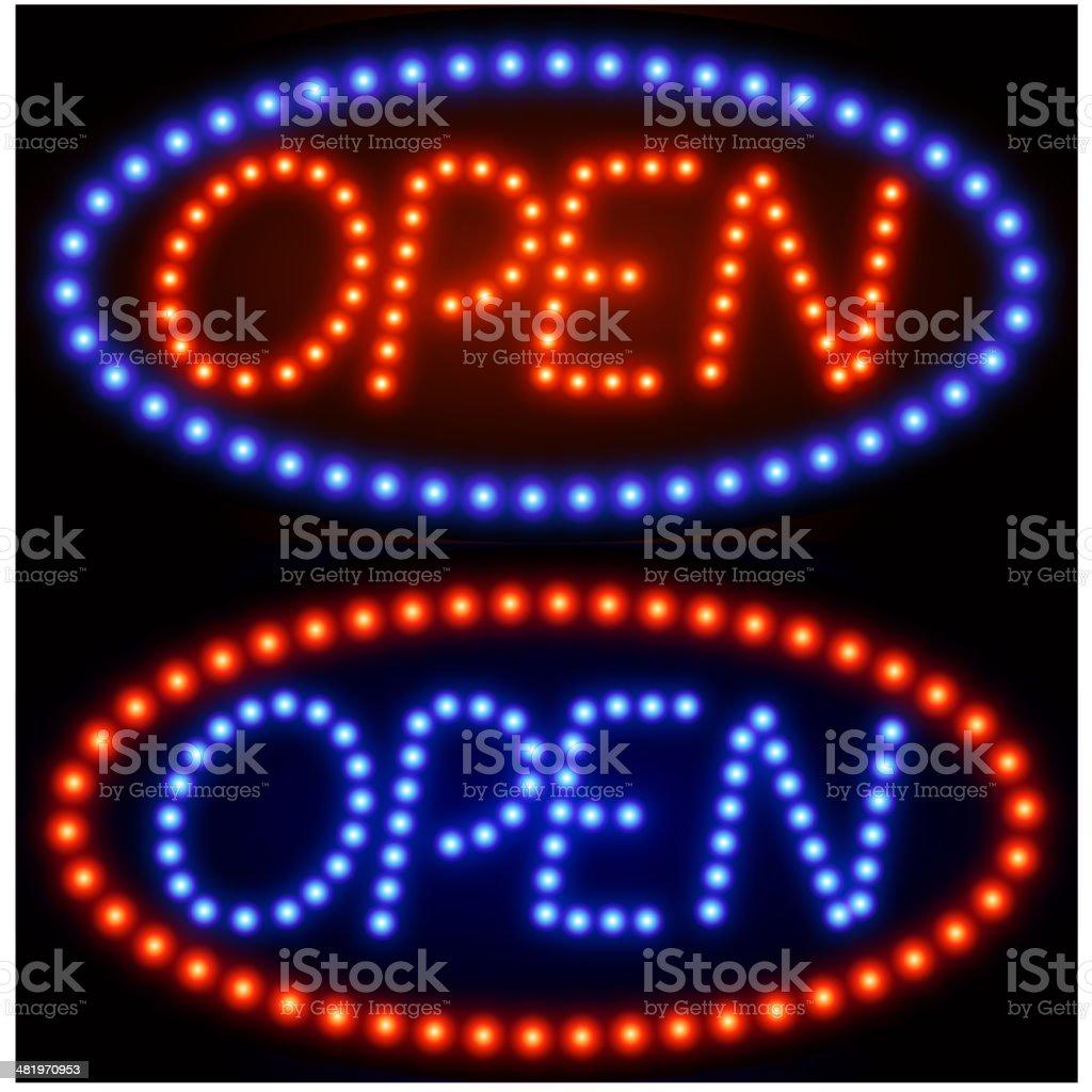 Open Tacky Neon Sign royalty-free stock vector art