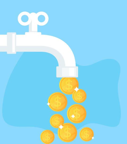 wasserhahn öffnen mit goldenen münzen währung us-dollar. finanziellen erfolgskonzept. flache cartoon vektor isoliert grafikdesign illustration - fallrohr stock-grafiken, -clipart, -cartoons und -symbole