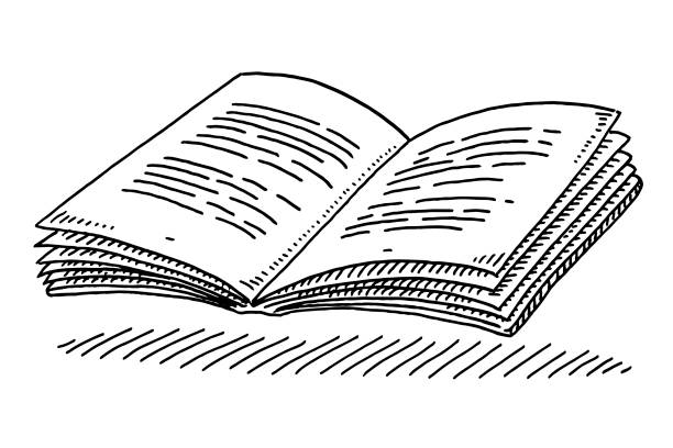 Open Textbook Drawing Hand-drawn vector drawing of an Open Textbook. Black-and-White sketch on a transparent background (.eps-file). Included files are EPS (v10) and Hi-Res JPG. book drawings stock illustrations
