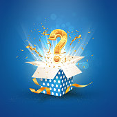 Open textured blue box with question sign and confetti explosion inside and on blue background. Mystery giftbox isolated vector illustration.