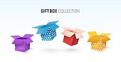 Open textured gift box collection Isolated vector colorful giftboxes on white background