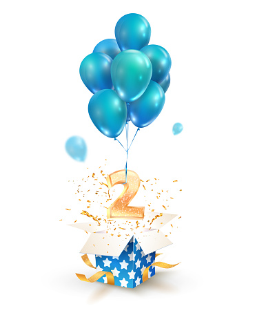 Open textured gift box with number 2 flying on balloons. Greeting for second anniversary isolated vector design elements. Two years celebrations