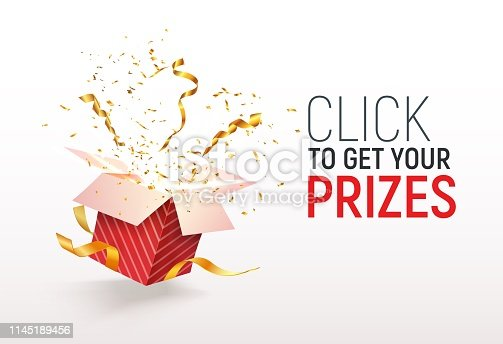 Open textured red box with confetti explosion inside Click to get your prizes text Flying particles from giftbox vector illustration on white background