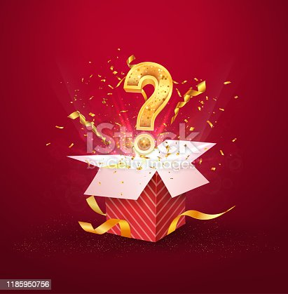 Open textured red box with question sign and confetti explosion inside and on blue background. Mystery gift box with secret isolated vector illustration.