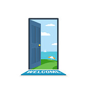 Open the door. Beautiful path to beach with a parasol. Seascape with a sailboat in the open sea. Concept of tourism and travel. Vector illustration in flat isolated on white background style for the Wed banner or poster