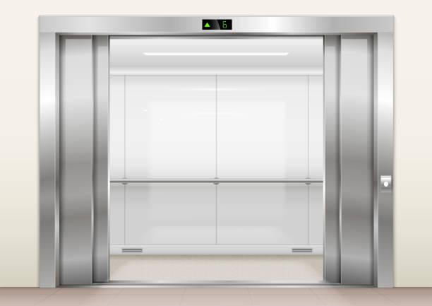 illustrazioni stock, clip art, cartoni animati e icone di tendenza di open the elevator doors - ascensore