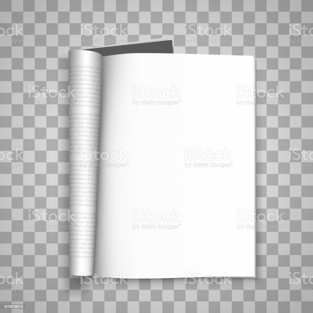 Open the paper journal, Paper Journal, Blank magazin transparent background, Page template design element, Vector illustration