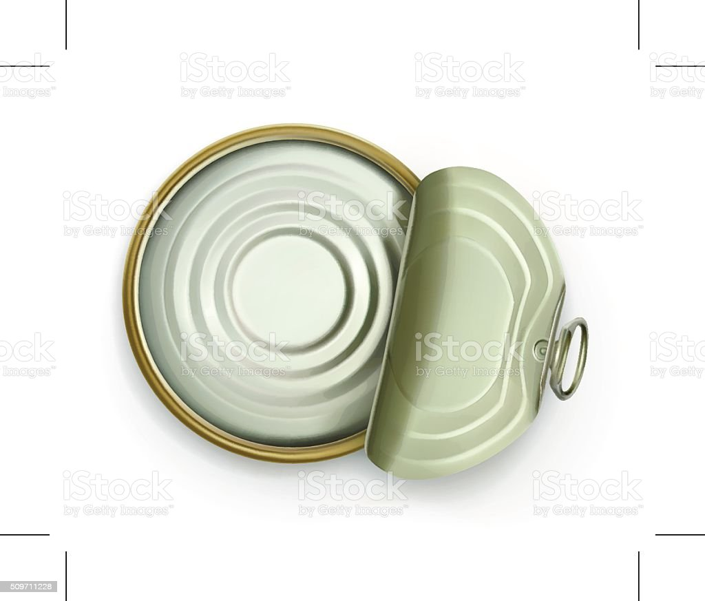 Open tin can, top view vector art illustration