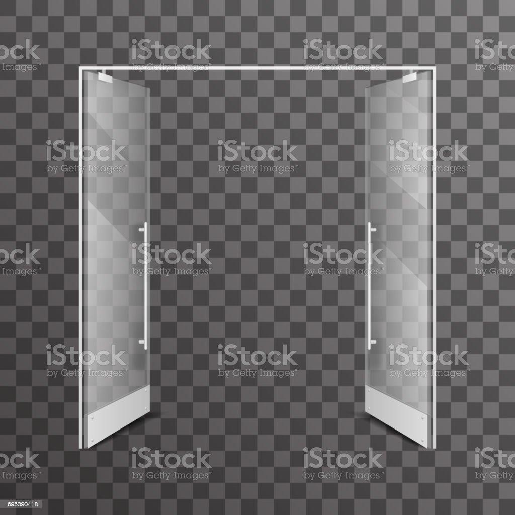 Open transparent isolated shop double doors realistic glass architectural design interior element vector illustration vector art illustration