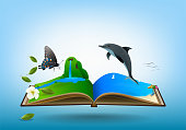 Open travel book, between Mountain meadows, waterfalls, butterflies, streams and sea beaches. over blue sky background, vector illustration.
