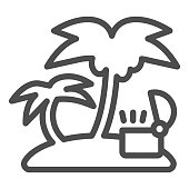 Open treasure chest on island line icon. Tropical island with palm vector illustration isolated on white. Island with ancient chest outline style design, designed for web and app. Eps 10