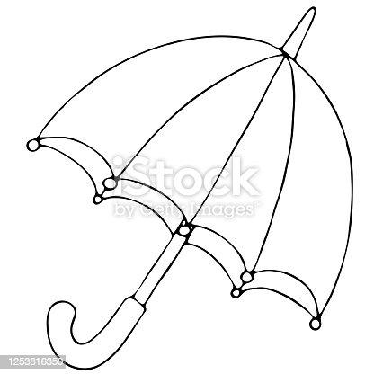 istock open umbrella from autumn rain, vector element, doodles, coloring book 1253816350