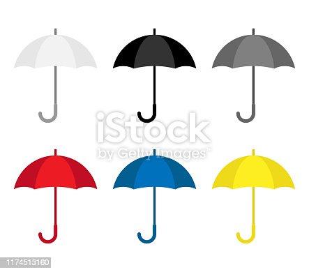 Open umbrella rain protection, set white, black, grey, red, blue, yellow. Rainy season monsoon Vector illustration flat style