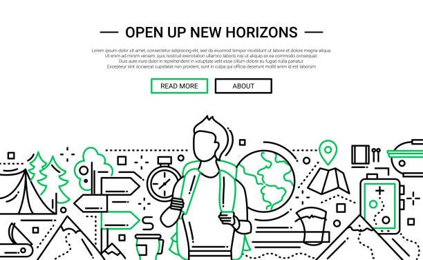 stockillustraties, clipart, cartoons en iconen met open up new horizons - line design website banner - new world