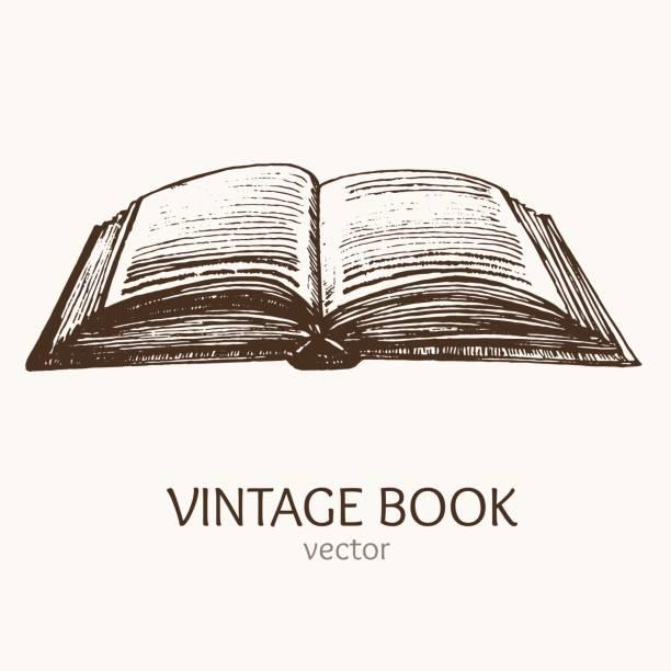 Open Vintage Book Hand Draw Sketch Card. Vector Open Vintage Book Hand Draw Sketch Card Retro Style Art. Vector illustration encyclopaedia stock illustrations