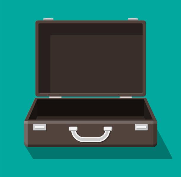 illustrazioni stock, clip art, cartoni animati e icone di tendenza di open vintage suitcase for travel. - borsa 24 ore