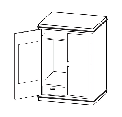 Open wardrobe Simple line Vector Illustration