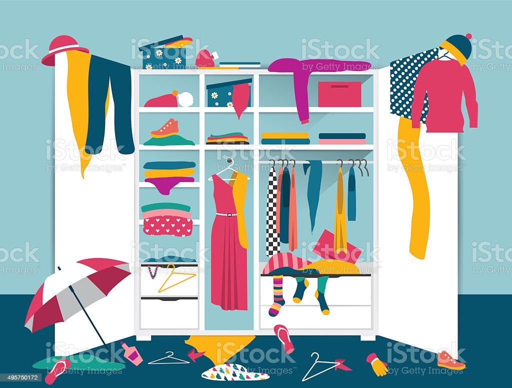 Open wardrobe. White closet with untidy clothes vector art illustration