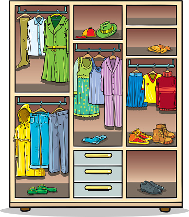 Open wardrobe with clothes on shelves and hangers.