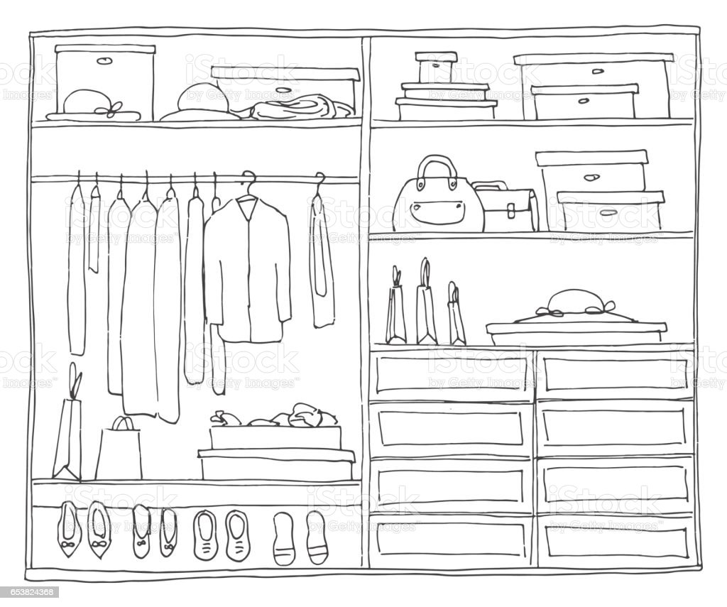 Wardrobe clipart black and white  Cloakroom Clip Art, Vector Images & Illustrations - iStock