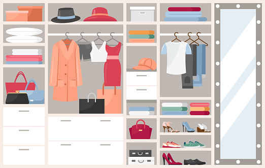 Open wardrobe with clothes vector illustration, cartoon flat shelves boxes with woman man things, shoes or hats, clothing on hangers in closet cupboard