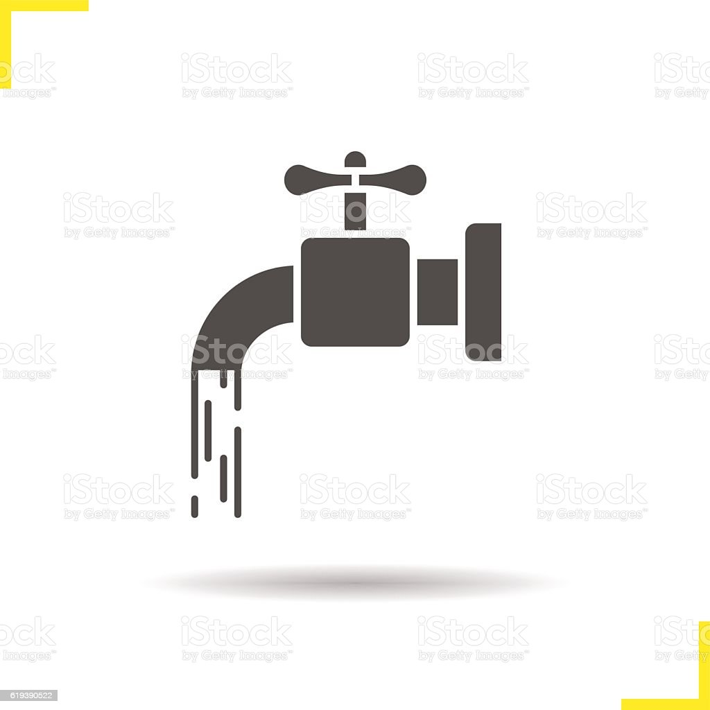 Open water faucet icon vector art illustration