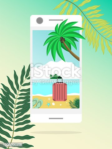 Open way to sea nature through mobile devices. Summer door concept. Summer beach landscape in smartphone. Online booking summer vacations and holidays. Welcome and travel vector illustration.