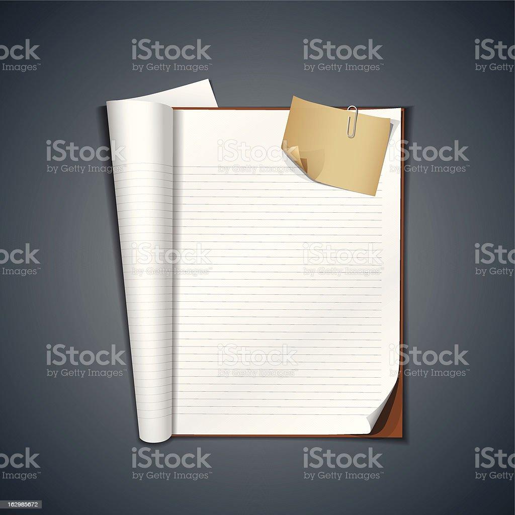 Offene weiße Buch und vintage Papier – Vektorgrafik