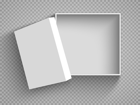 Open White Cardboard Carton Gift Box With Lid. Illustration Isolated on a transparent background. Vector EPS10