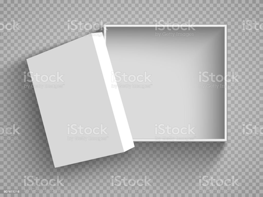 Ouvrir le coffret blanc boîte en Carton avec couvercle. Illustration isolé sur un fond transparent. Vector EPS10 - Illustration vectorielle