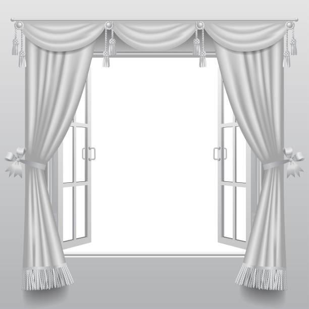 offenen weißen doppelfenster mit klassischen jalousien und transparentem glas - stoffrollos stock-grafiken, -clipart, -cartoons und -symbole