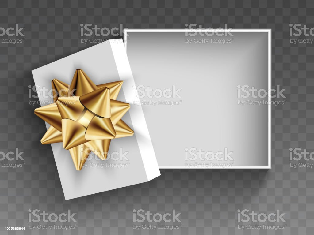 Open white gift box with gold bow. Illustration Isolated on a transparent background. Vector EPS10 vector art illustration