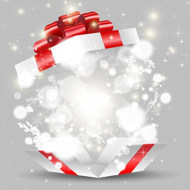 offenen weißen geschenkbox mit schneeflocken und lichter - weihnachtsgeschenk stock-grafiken, -clipart, -cartoons und -symbole
