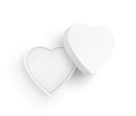 Open White Heart Shape Box