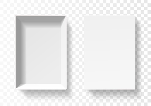 Open white pack box. Empty cardboard container template. 3d top view. Blank space inside pakage mockup. Closeup realistic vector object.