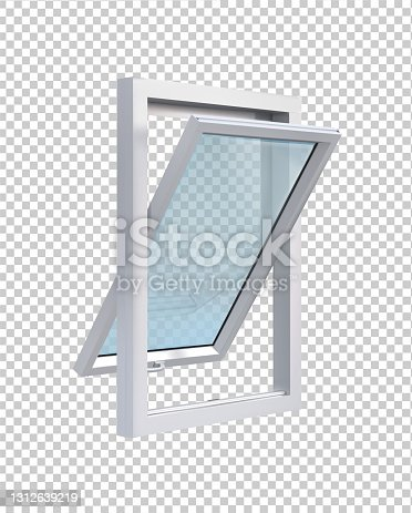 istock Open white window in side view on transparent background vector illustration. 1312639219