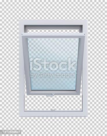 istock Open white window on transparent background vector illustration. 1312639841