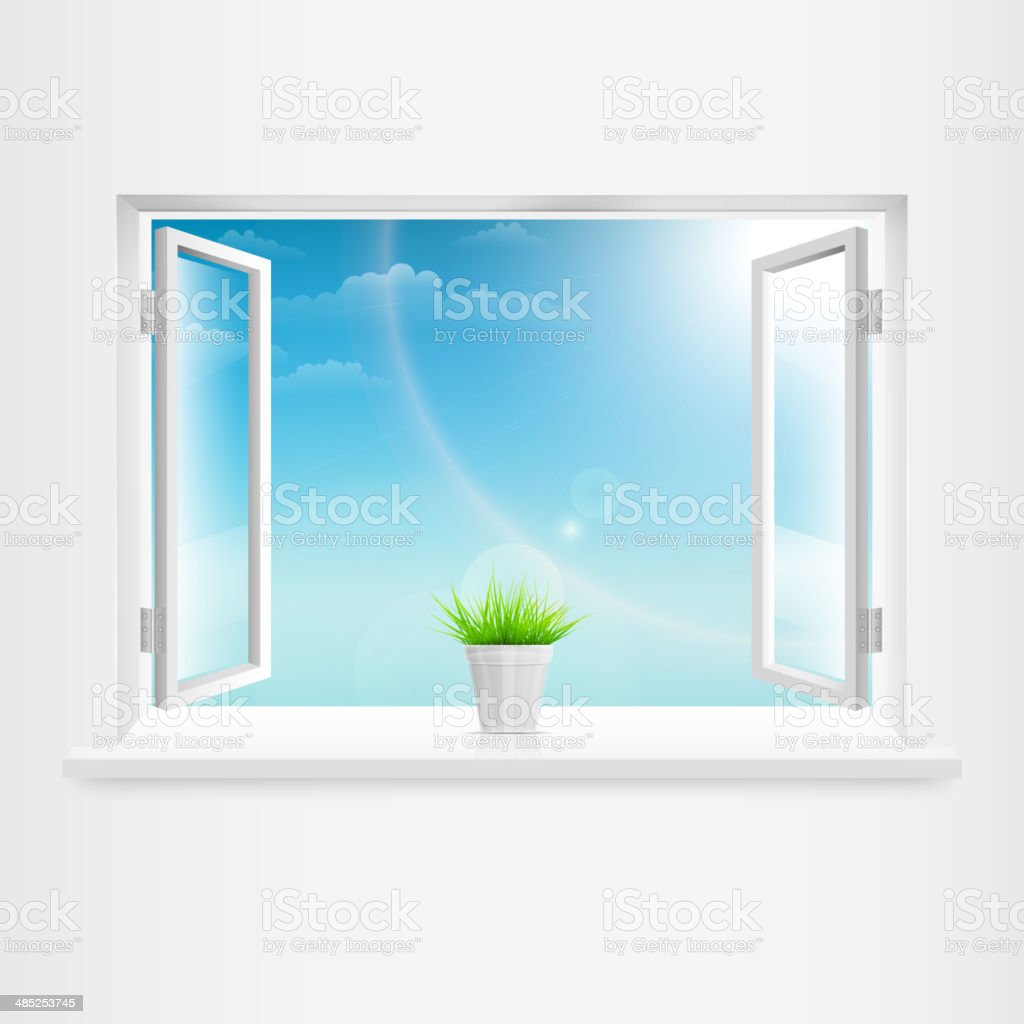Open White Window With Flowerpot. royalty-free stock vector art