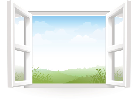 Open White Window with Scenery