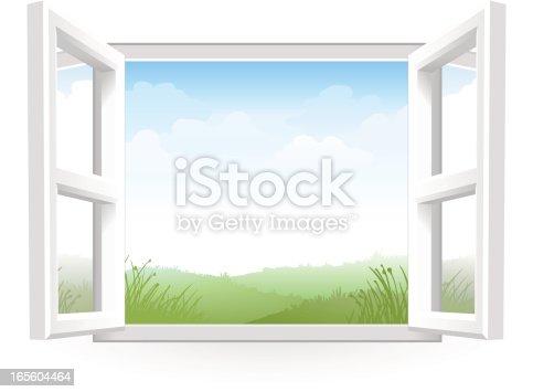 istock Open White Window with Scenery 165604464
