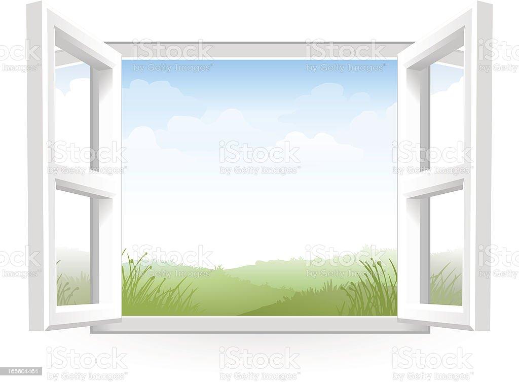 Open White Window with Scenery vector art illustration