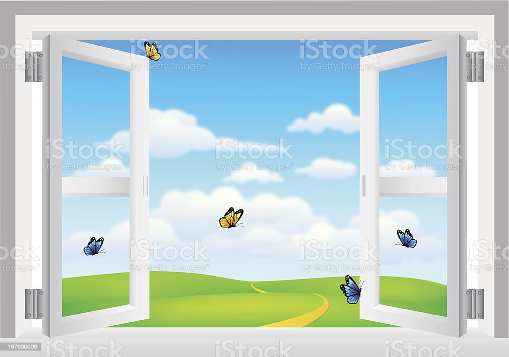 Open White Window with Scenery royalty-free open white window with scenery stock vector art & more images of aspirations