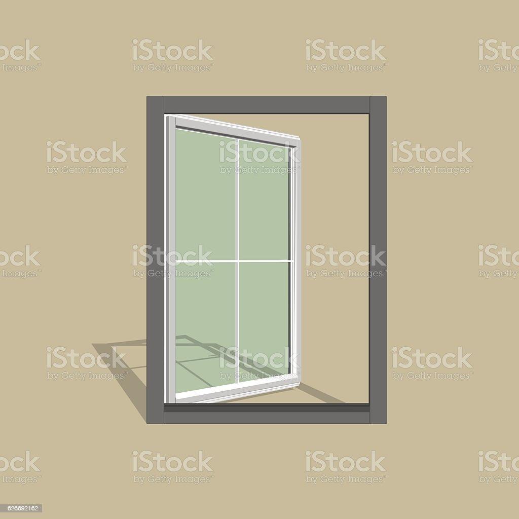 Open window. 3d Vector illustration. vector art illustration